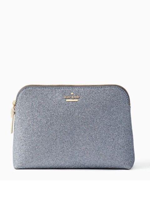 best service ea701 60805 Kate Spade Burgess Court Small Briley Ash Gray Glitter Cosmetics Case Bag