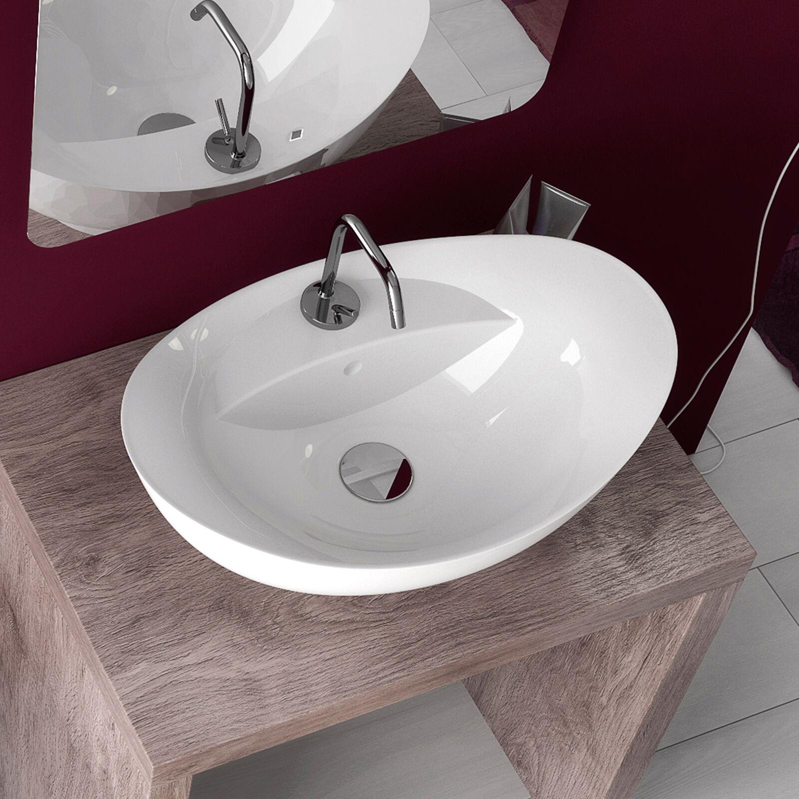 Lavabo bagno da appoggio in ceramica bianco monoforo monoforo monoforo 58,5x39 cm bacinella design c8cfb1