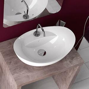 Lavabo bagno da appoggio in ceramica bianco monoforo 58,5x39 cm ...