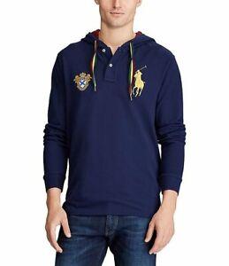 Polo-Ralph-Lauren-Men-s-SZ-M-Big-Pony-Mesh-Long-Sleeve-Hoodie-T-Shirt-Navy