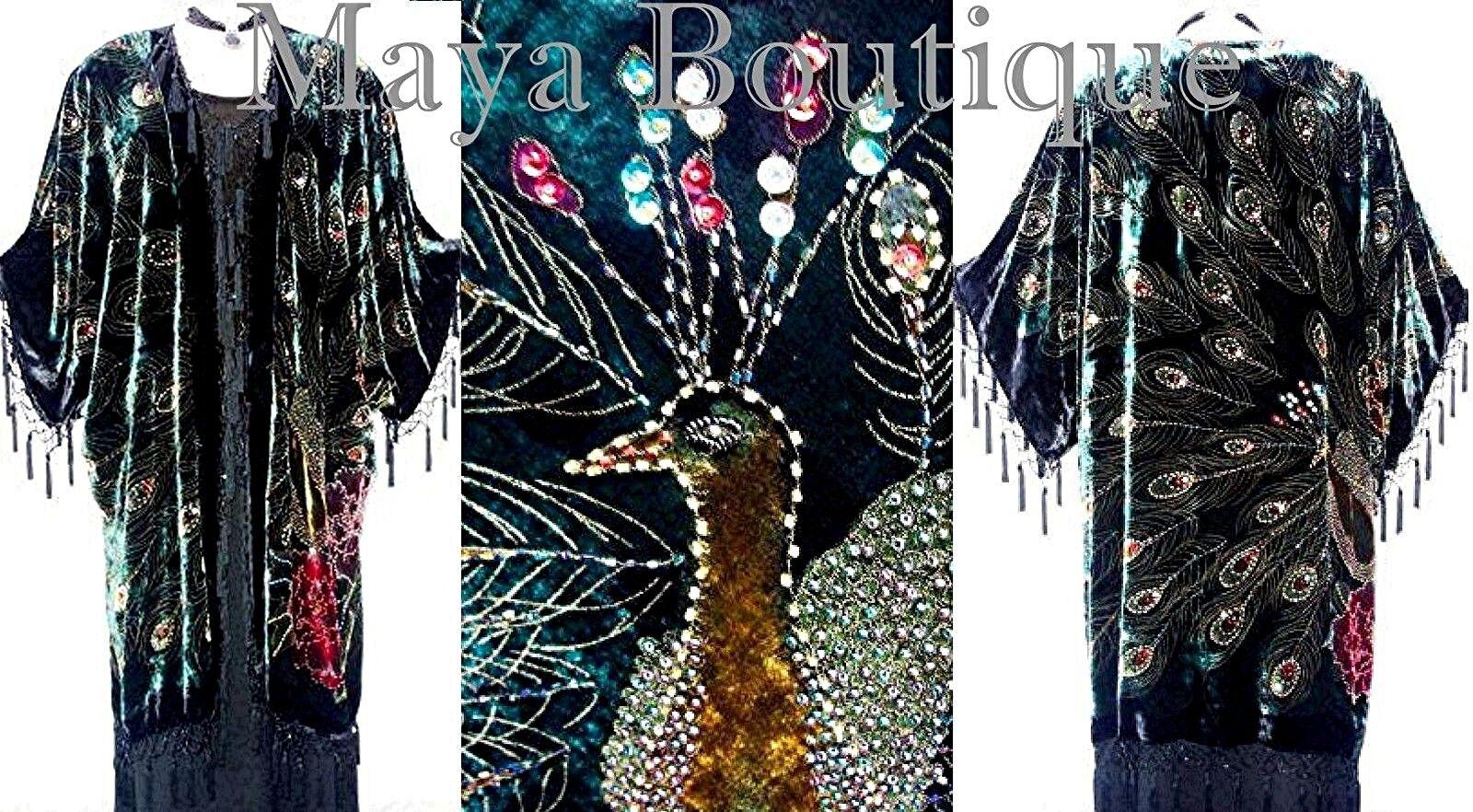 Silk Velvet KIMONO Opera Coat Duster Beaded Black Multi Peacock Maya Boutique