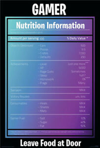 Gamer-Nutrition-Panel-POSTER-61x91cm-NEW-gaming-information-leave-food-at-door