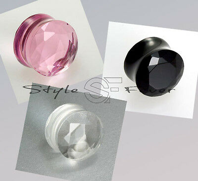 3 - 16 mm Ear Plug Flesh Tunnel Pink Klar Schwarz Ohr Kristall Facettenschliff