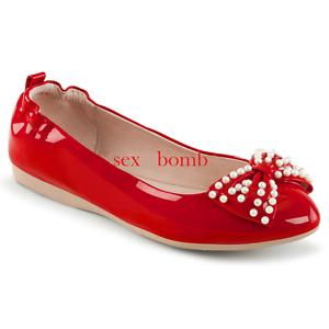miglior sito web e159d d0590 Dettagli su BALLERINE ROSSE a punta pieghevoli PERLINE dal 35 al 40 tacco  flat scarpe pin up