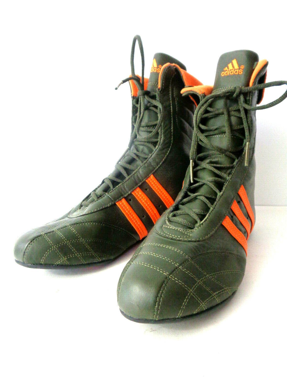 Adidas Vintage 2004 Hombres Zapatos de boxeo 7.5M 040039 verde oliva naranja de cuero