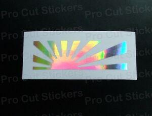 Grand Rond Soleil Levant Drapeau Argent Hologramme Neo Miroir Chrome Sticker Jdm