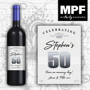 Personalised Birthday Wine Bottle Label - 18th, 21st, 30th, 40th (silver lines)