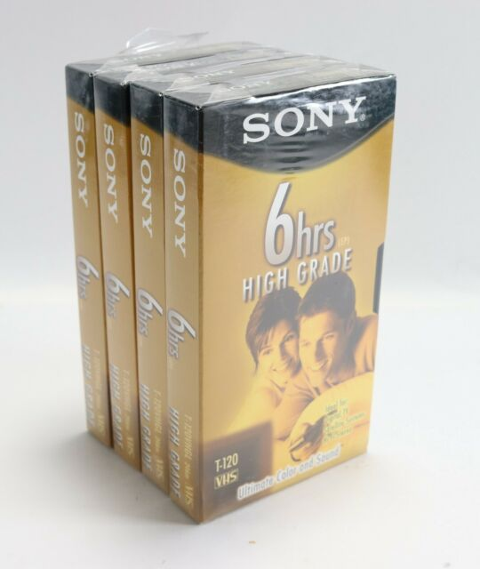 Brand New - Lot of (4) Sony 6 Hour EP High Grade T-120 VHS Black Recording Tape