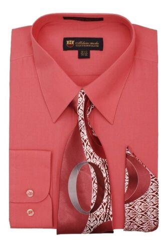 Men/'s Milano Moda Dress Shirt w// Matching Tie /& Handkerchief Set DS21