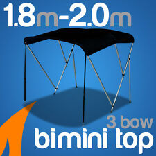 3 Bow 1.8m-2.0m Black Boat Bimini Top Canopy Cover w/ Rear Poles & Sock