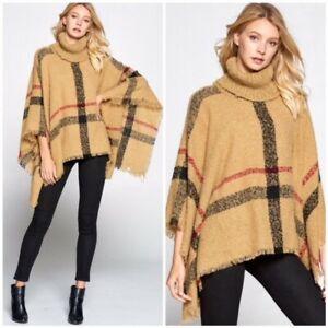 Camel-Plaid-Turtleneck-Poncho-Knit-Fringe-Sweater-Womens-One-Size