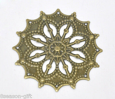 HX 50 Bronze Tone Filigree Flower Wraps Connectors 43mm