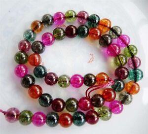 6mm-Multicolored-Round-Tourmaline-Gemstone-Loose-Beads-15-034-Strand-JL84