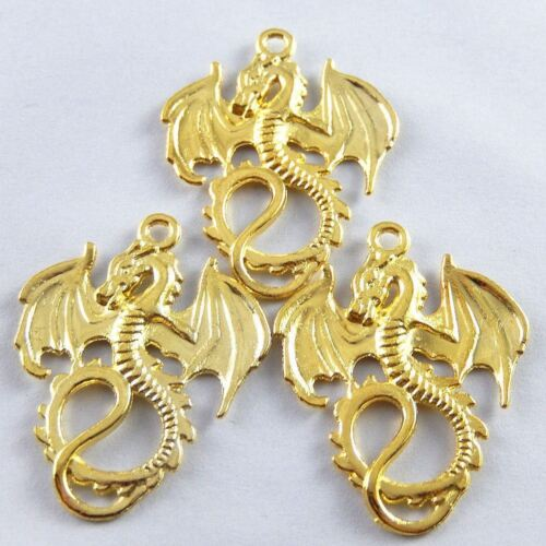 37136 Hot Sale Golden Alloy Fierce Dragon Pendant Charms Crafts Finding 10pcs
