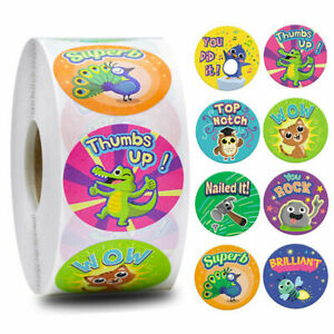 500* Cartoon Smile Face Rewards Stickers Kids School Teacher Labels Toys Decal