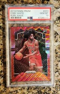 2019-20-Panini-Prizm-Coby-White-RC-Rookie-Ruby-Wave-Refractor-PSA-10-Gem-Mint