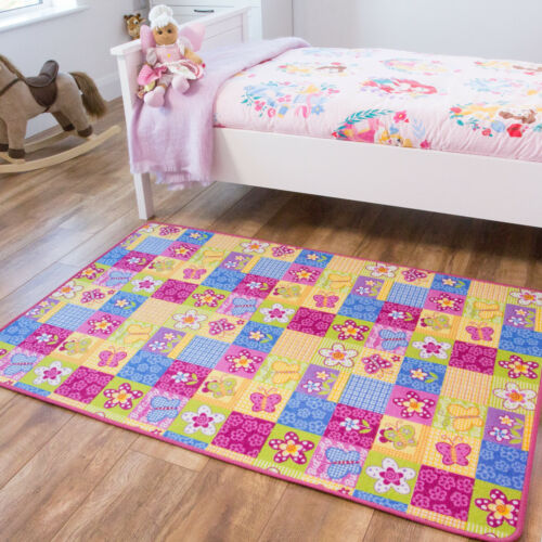 Girls Colourful PlaymatsPink /& Yellow Butterfly MatFun /& Cheap Bedroom Rug