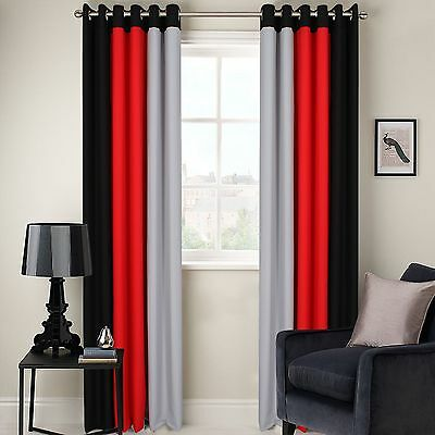 Ring Top Fully Lined 3 Tone Ready Made Pair Of Eyelet Curtains Black Grey Red