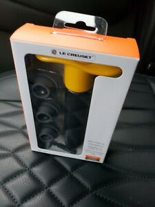 Yellow Le Creuset Wine Pump and 3-Stoppers