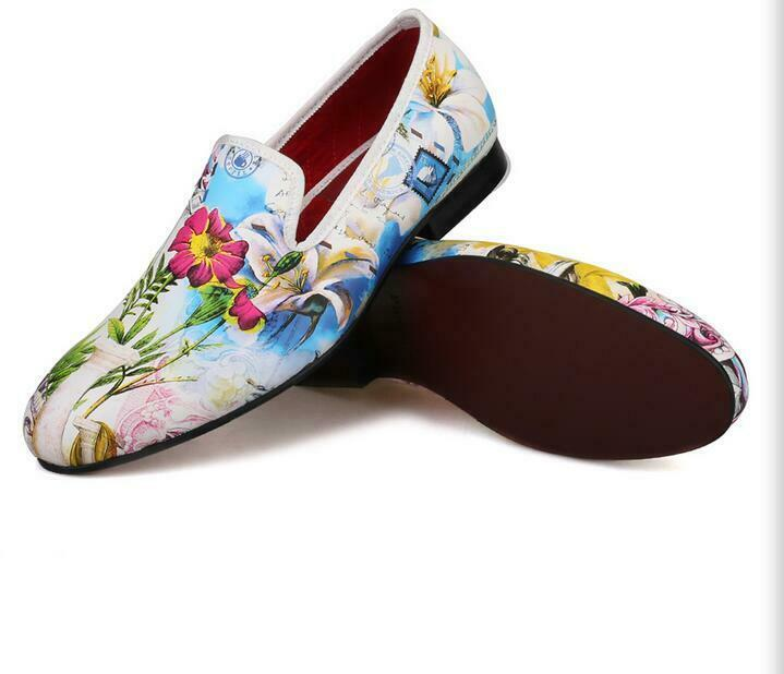 Men's Round Toe Moccasions Leather Floral Slip On shoes Casual Dress Loafers