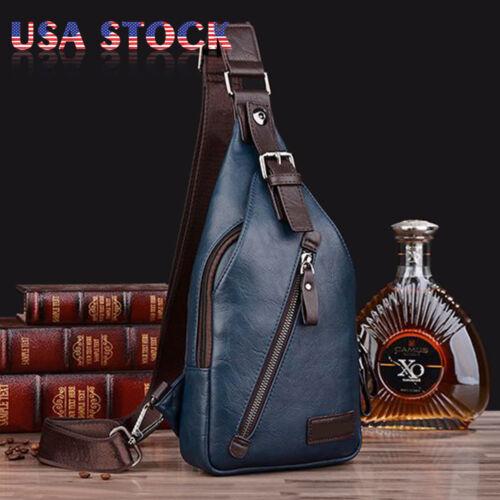 Men Fashion Leather Sling Chest Pack Messenger Cross Body Shoulder Bag Satchel