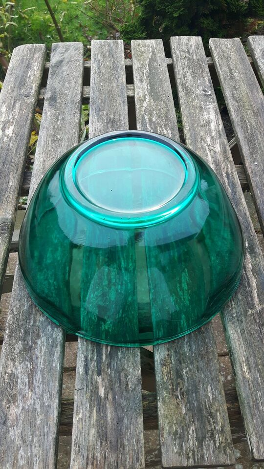 Glas, Skål, petroleumsgrøn/facetter
