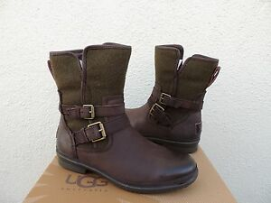 e5c20f76ee6 Details about UGG SIMMENS STOUT LEATHER/ WOOL WATERPROOF ANKLE BOOTS, US 7/  EUR 38 ~NEW