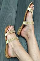SALE Ladies Gold Toe-Post Diamonte Sandals / Flip Flops BNIB Size 3