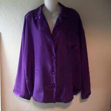 Victoria's Secret Purple Satin Pajama Top, Lounge Sleep Shirt size L