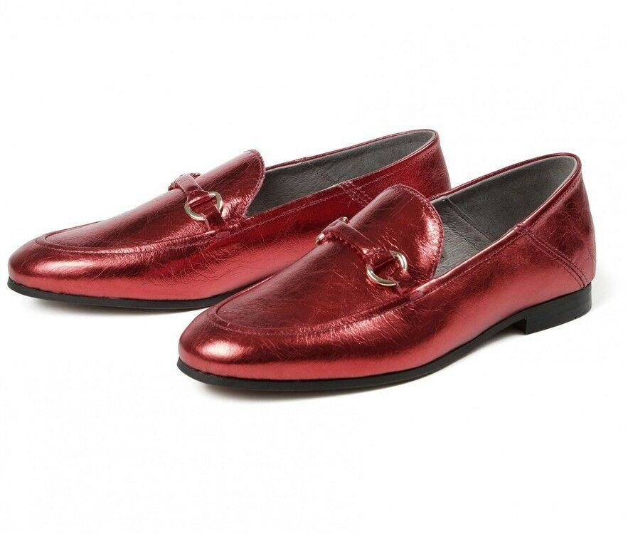 H by Hudson Metallic rot Arianna Flat Brogues schuhe Leather Pumps Loafers 7 40