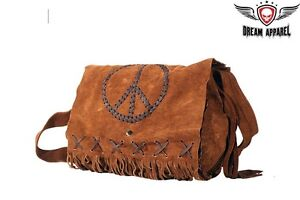 Women-039-s-Genuine-Brown-Suede-Purse-With-Peace-Sign-NEW-DEAL