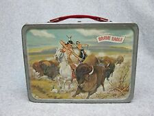 1957 BRAVE EAGLE Tv Western LUNCHBOX Red Sides   Indian Buffalo Hunt  C#8++