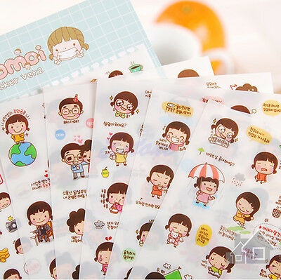 Hot! Cute Cartoon Girl Stickers Scrapbook Calendar Diary Planner Decoration Set