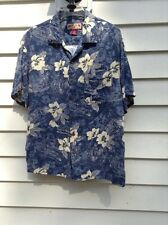 Caribbean Joe Brand 100%Rayon Button Up Blue Hawaiian Shirt Men Size Medium