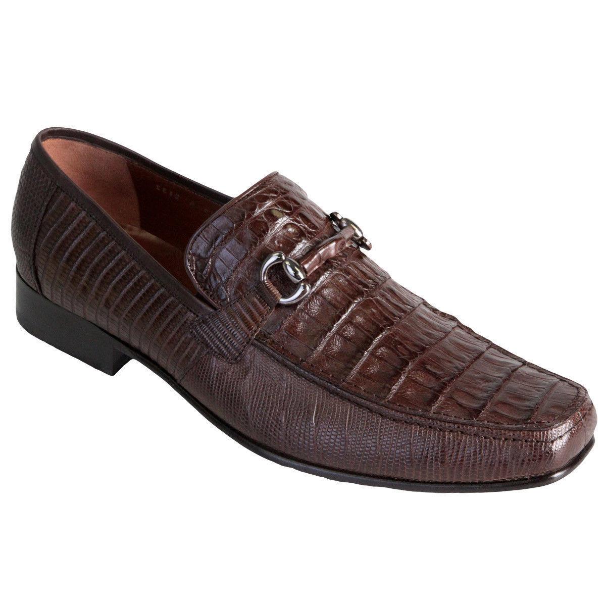 Los Los Los altos Genuino Lagarto Cocodrilo Marrón Mocasín Zapato de vestido (EE Ancho 406735