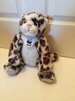 "Build A Bear Snow Leopard Cheetah WWF Plush Stuffed Animal 16"""