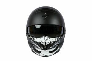 Scorpion EXO Combat Motorcycle helmet Matt Black with Skull Mask