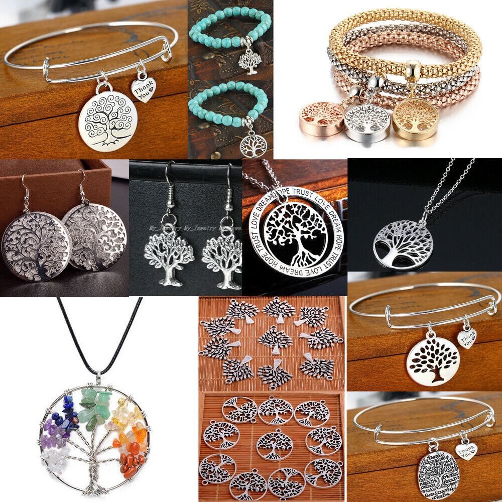 Ladies S925 Silver Feather Tree of Life Dream Catcher Pendant Necklace Jewelry