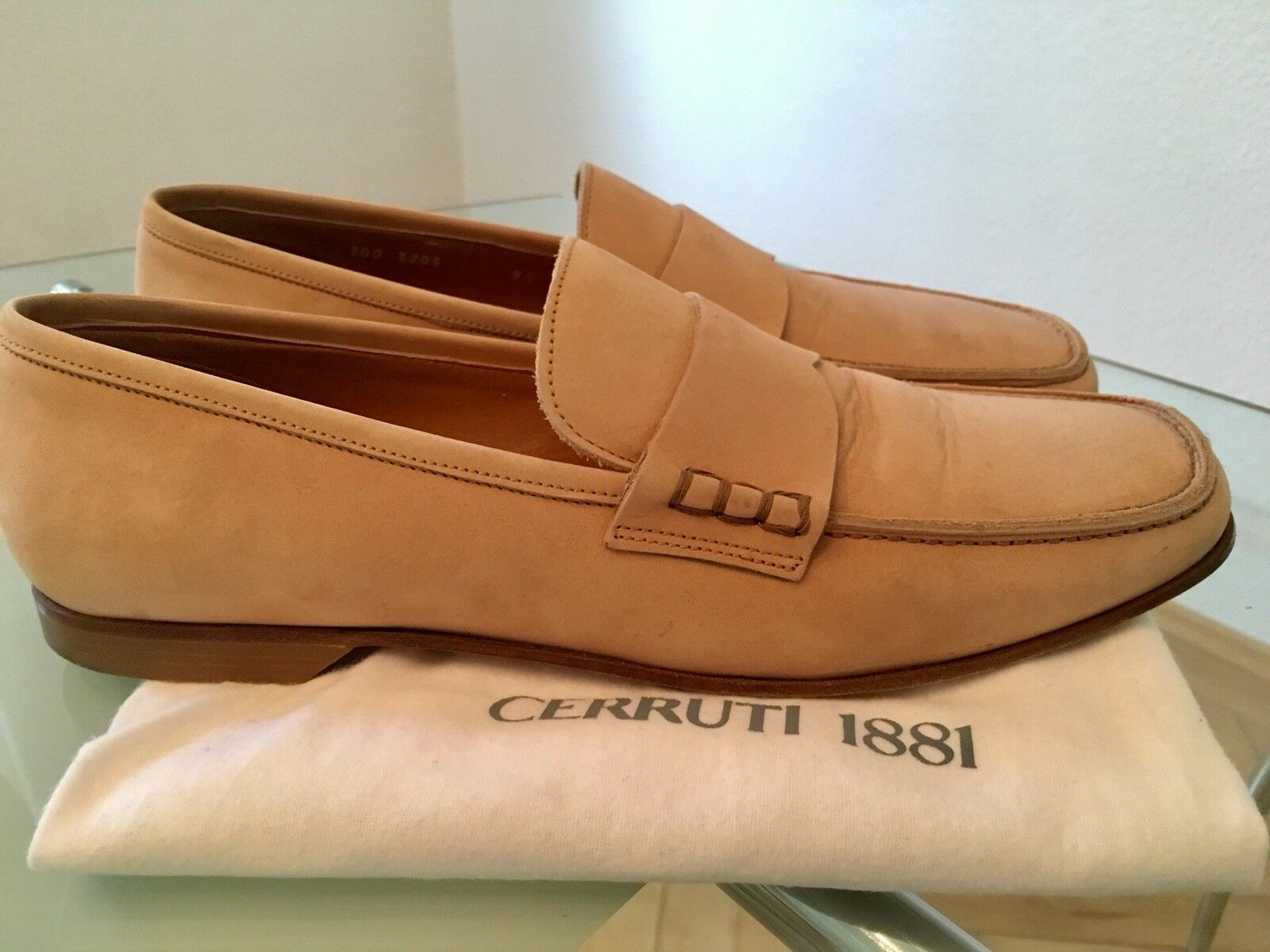 Luxus Cerruti 1881 Slipper Business Herrenschuhe Beige Gr.9.5(43/43.5)