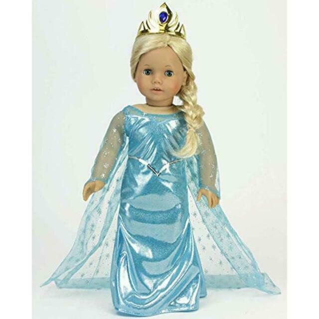 """New 18/"""" Doll Ice Princess Dress with Cape /& Gold Tiara by Sophia/'s"""