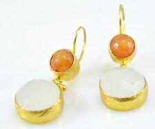 Ottomangems semi preciosas Pendientes de Piedras Preciosas Ágata De Oro Calcedonia hecho a mano