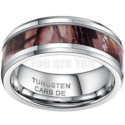 8mm Tungsten Carbide Ring Hunting Camo Design Anniversary Wedding Band Mens Ring
