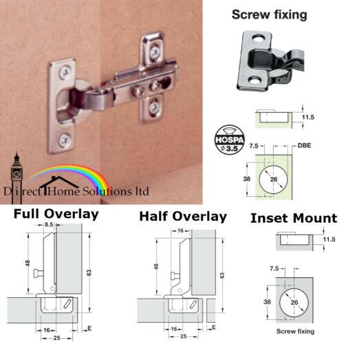 1 x HAFELE Concealed Caravan Ø26mm Cup Hinge 92° Mounting Plate Screws Incl