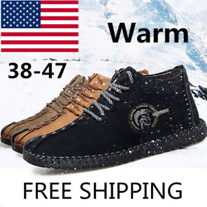 Men-039-s-Oxford-Leather-Casual-Shoes-Moccasin-gommino-Driving-Brushed-Warm-Winter