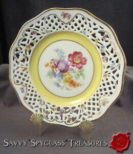 Schumann-Arzberg-Dresden-Flower-Reticulated-Pierced-Yellow-Band-Salad-Plate