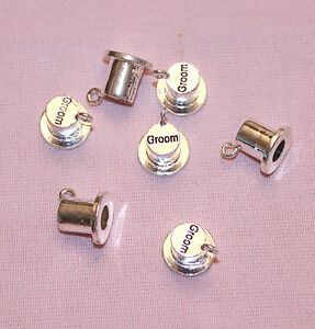 Silver-Plated-Male-Wedding-Themed-Top-Hat-Charms-Groom-Best-Man-Groom-039-s-Father
