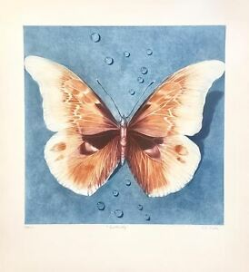 Ltd-Ed-Mezzotint-034-Butterfly-034-Hand-Signed-by-G-H-Rothe