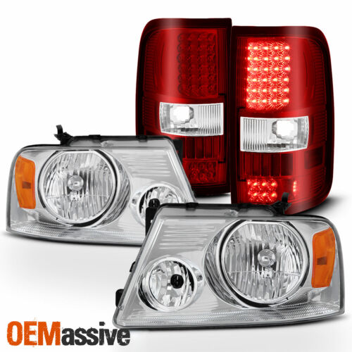 For 04-08 Ford F150 Chrome Headlights Styleside Red Clear LED Tail Lights Pair