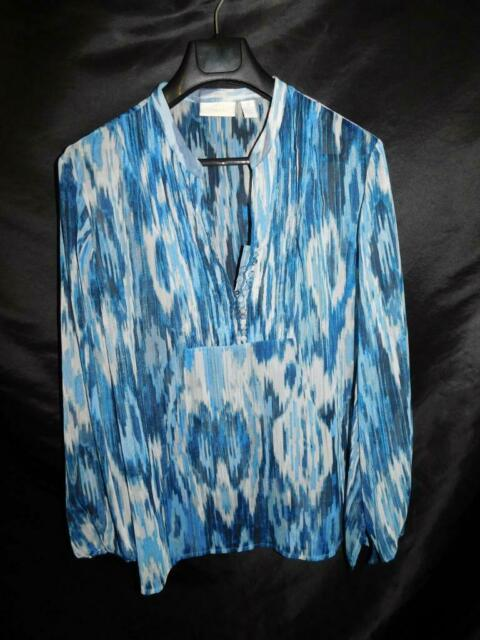Chico's Size 3 XL Blue Gray Sheer Shirt Button V Neck Pullover Long Sleeve Strip