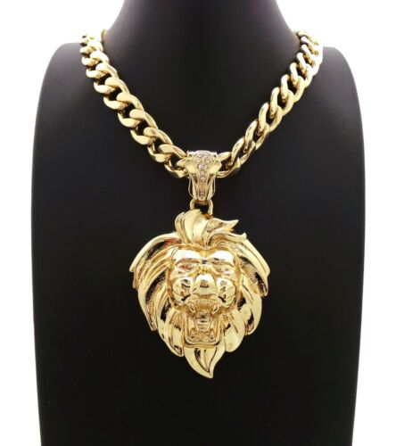 """New 14k Lion Pendant With 11mm 20/"""" Cuban Chain Necklace Gold Plated"""